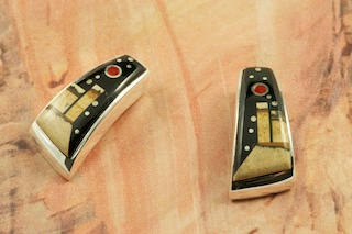 These Earrings are a work of art! Beautiful Starry Night Design at Monument Valley. Featuring Genuine Picture Jasper and Black Jade inlaid in Sterling Silver Post Earrings. Beautiful Harvest Moon. Designed by Navajo Artist Calvin Begay. Signed by the artist.