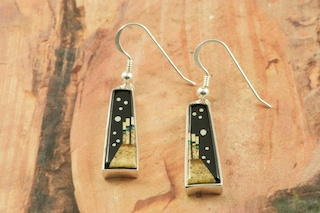 These Earrings are a work of art! Beautiful Starry Night Design at Monument Valley. Featuring Genuine Picture Jasper and Black Jade inlaid in Sterling Silver French Wire Earrings. Designed by Navajo Artist Calvin Begay. Signed by the artist.