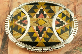 Sterling Silver Belt Buckle featuring Genuine Picture Jasper, Tiger's Eye and Black Jade inlaid in Sterling Silver. Beautiful Fire and Ice Lab Opal Accents. Designed by Navajo Artist Calvin Begay. Signed by the artist.