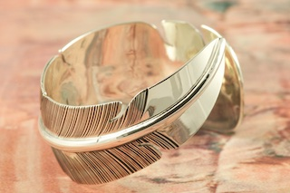 Stunning Heavy Gauge Sterling Silver Feather Bracelet. Created by Navajo Artist John Nelson. Signed by the Artist.