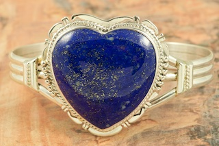 Stunning Heart Bracelet featuring Genuine Blue Lapis set in Sterling Silver. Created by Navajo Artist John Nelson. Signed by the artist.