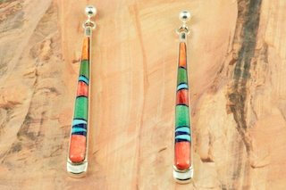 Stunning Earrings featuring Genuine Spiny Oyster Shell, Sleeping Beauty Turquoise, Blue Lapis and Black Jade inlaid in Sterling Silver. Post Earrings Designed by Navajo Artist Calvin Begay. Signed by the artist.