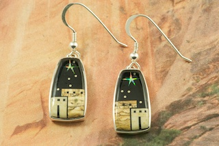 These Earrings are a work of art! Beautiful Starry Night Design at the Pueblo. Featuring Genuine Picture Jasper and Black Jade inlaid in Sterling Silver French Wire Earrings. Beautiful Fire and Ice Lab Opal Stars! Designed by Navajo Artist Calvin Begay. Signed by the artist.