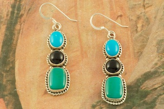 Genuine Sleeping Beauty Turquoise, Royston Turquoise and Black Onyx set Sterling Silver French Wire Earrings. Created by a Member of the Navajo Tribe.