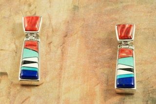 Genuine Turquoise, Blue Lapis, Black Jade, Magnesite and Spiny Oyster Shell inlaid in Sterling Silver. Stunning Post Earrings Designed by Navajo Artist Calvin Begay. Signed by the artist.