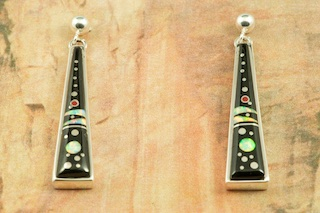Stunning Starry Night Design featuring Genuine Black Jade inlaid in Sterling Silver. Beautiful Fire and Ice Lab Opal Moons! Post Earrings Designed by Navajo Artist Calvin Begay. Signed by the artist.