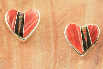 Stunning Heart Earrings featuring Genuine Fire Spiny Oyster Shell and Acoma Jet inlaid in Sterling Silver with Beautiful Fire and Ice Lab Opal Accents! Post Earrings Designed by Navajo Artist Calvin Begay. Signed by the artist.