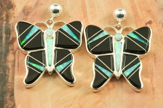 Stunning Butterfly Earrings featuring Genuine Black Jade inlaid between ribbons of Sterling Silver. Beautiful Fire and Ice Lab Opal Accents. Post Earrings Designed by Navajo Artist Calvin Begay. Signed by the artist.