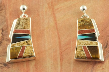 Stunning Earrings featuring Genuine Picture Jasper, Tiger's Eye and Black Jade inlaid between ribbons of Sterling Silver. Post Earrings Designed by Navajo Artist Calvin Begay. Signed by the artist.