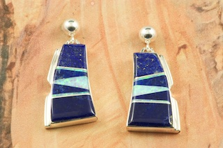 Stunning Earrings featuring Genuine Blue Lapis inlaid between ribbons of Sterling Silver. Beautiful Fire and Ice Lab Opal Accents. Post Earrings Designed by Navajo Artist Calvin Begay. Signed by the artist.