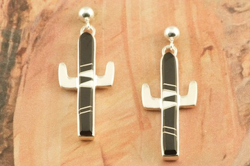 Stunning Cactus Earrings featuring Genuine Black Jade and Magnesite inlaid between ribbons of Sterling Silver. Post Earrings Designed by Navajo Artist Calvin Begay. Signed by the artist.