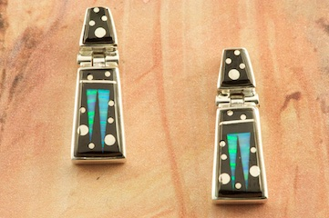 Stunning Starry Night Design featuring Genuine Black Jade inlaid in Sterling Silver. Beautiful Fire and Ice Lab Opal Accents. Post Earrings Designed by Navajo Artist Calvin Begay. Signed by the artist.