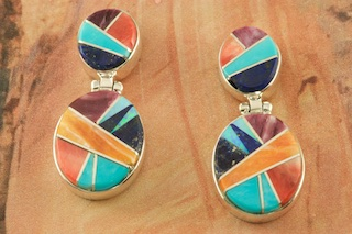 Genuine Turquoise, Spiny Oyster Shell and Blue Lapis inlaid between ribbons of Sterling Silver. Beautiful Fire and Ice Lab Opal Accents. Post Earrings Designed by Navajo Artist Calvin Begay. Signed by the artist.