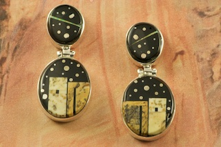Starry Night in the Pueblo featuring Genuine Black Jade inlaid in Sterling Silver. Beautiful Fire and Ice Lab Opal Accents. Post Earrings Designed by Navajo Artist Calvin Begay. Signed by the artist.