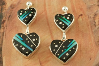 Night Sky Double Hearts Earrings featuring Genuine Black Jade inlaid in Sterling Silver. Beautiful Fire and Ice Lab Opal Accents. Post Earrings Designed by Navajo Artist Calvin Begay. Signed by the artist.