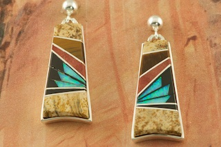 Genuine Picture Jasper, Tiger's Eye and Black Jade inlaid between ribbons of Sterling Silver. Beautiful Fire and Ice Lab Opal Accents. Post Earrings Designed by Navajo Artist Calvin Begay. Signed by the artist.