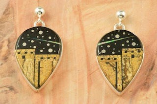 Starry Night in the Pueblo Design with Shooting Stars!  Genuine Black Jade inlaid in Sterling Silver Earrings. Beautiful Sterling Silver Contemporary Design on the reverse side. Post Earrings Designed by Navajo Artist Calvin Begay. Signed by the artist.