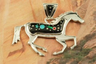 "Stunning Starry Night Design featuring Genuine Black Jade inlaid in Sterling Silver. Beautiful Fire and Ice Lab Opal Moon and Shooting Star!  Free 18"" Sterling Silver Chain with Purchase of Pendant. Horse Pendant Designed by Navajo Artist Calvin Begay. Signed by the artist."