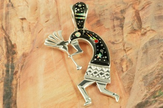 "Stunning Starry Night Design featuring Genuine Black Jade inlaid in Sterling Silver. Beautiful Fire and Ice Lab Opal Moon and Shooting Star! Free 18"" Sterling Silver Chain with Purchase of Pendant. Kokopelli Pendant Designed by Navajo Artist Calvin Begay. Signed by the artist."