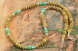 Beautiful Necklace featuring Genuine Picture Jasper with Accents of Turquoise and Sterling Silver Beads. Sterling Silver Clasp. Created by Navajo Artist Petra Vandever.
