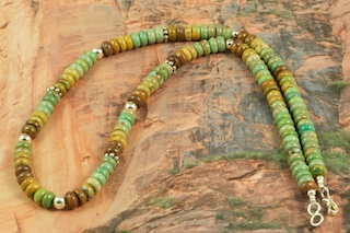 Beautiful Necklace featuring Genuine Manassa Turquoise with Sterling Silver Beads and Clasp. Created by Navajo Artist Petra Vandever. This Turquoise is also referred to as King�s Manassa Turquoise. The Manassa Turquoise mine is located in Manassa, Conejos County, Colorado.