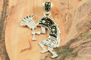 """Stunning Starry Night Design featuring Genuine Black Jade inlaid in Sterling Silver. Beautiful Fire and Ice Lab Opal Moon and Shooting Star! Free 18"""" Sterling Silver Chain with Purchase of Pendant. Kokopelli Pendant Designed by Navajo Artist Calvin Begay. Signed by the artist."""