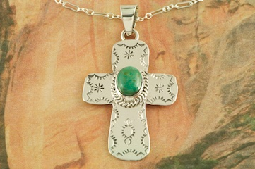 "Beautiful Cross Pendant featuring Genuine Sierra Nevada Turquoise set in Sterling Silver.  Free 18"" Sterling Silver Chain with Purchase of Pendant. Created by Navajo Artist Burt Francisco. Signed by the artist."