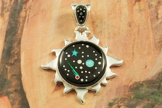 "This Sun Pendant is a Work of Art! Stunning Starry Night Design featuring Genuine Black Jade inlaid in Sterling Silver. Beautiful Fire and Ice Lab Opal Moon and Star! Free 18"" Sterling Silver Chain with Purchase of Pendant. Designed by Navajo Artist Calvin Begay. Signed by the artist."