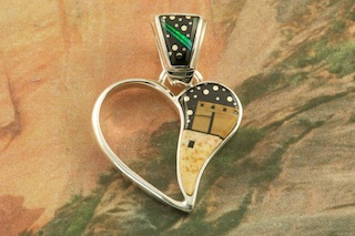 """Starry Night in the Pueblo Sterling Silver Pendant. Genuine Picture Jasper and Acoma Jet inlaid in Sterling Silver. Free 18"""" Sterling Silver Chain with Purchase of Pendant. Stunning Heart Pendant Designed by Navajo Artist Calvin Begay. Signed by the artist."""