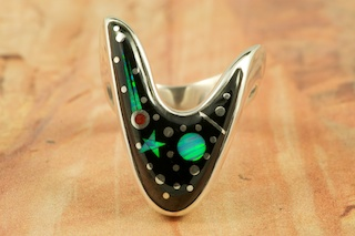 Stunning Starry Night Design with a Shooting Star! Featuring Genuine Black Jade inlaid in Sterling Silver. Beautiful Fire and Ice Lab Opal Star and Moon! Ring Designed by Navajo Artist Calvin Begay. Signed by the artist.