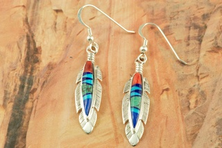 Stunning French Wire Feather Earrings feature Genuine Turquoise, Spiny Oyster Shell and Blue Lapis inlaid in Sterling Silver. Designed by Navajo Artist Calvin Begay. Signed by the artist.