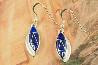 Genuine Blue Lapis inlaid between ribbons of Sterling Silver. Stunning French Wire Earrings Designed by Navajo Artist Rick Tolino. Signed by the artist.