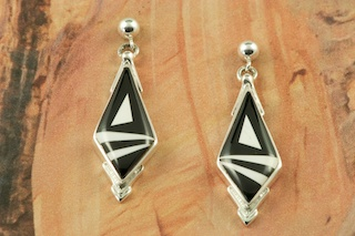 Genuine Black Jade and Magnesite inlaid in Sterling Silver. Beautiful Post Earrings Designed by Navajo Artist Calvin Begay. Signed by the artist.