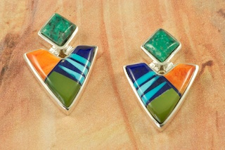 Stunning Arrow Head Design featuring Genuine Turquoise, Spiny Oyster Shell, Black Jade and Blue Lapis inlaid in Sterling Silver.  Post Earrings Designed by Navajo Artist Calvin Begay. Signed by the artist.