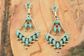 Beautiful Petit Point Earrings feature Genuine Sleeping Beauty Turquoise set in Sterling Silver Post Earrings.  Created by Zuni Artist Dave Pincion.  The Zuni Pueblo is located in New Mexico, Land of Enchantment.