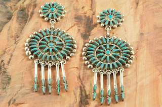 Stunning Earrings featuring Genuine Sleeping Beauty Turquoise set in Sterling Silver. Beautiful Post Earrings with Needle Point Design. The Sleeping Beauty Turquoise mine is located in Gila County, Arizona. Created by Zuni Artist Vincent Johnson. Signed by the artist. The Zuni Pueblo is located in New Mexico, Land of Enchantment.
