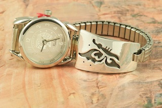 Sterling Silver Watch Tips with Contemporary Eagle Design. Ladies quartz watch with expandable band. Created by Navajo Artist Sharon Cisco. Signed by the artist.