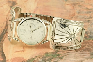 Sterling Silver Mens Watch Tips featuring a Quartz Watch with expandable band. Created by Navajo Artist Harry Spencer. Signed by the artist.