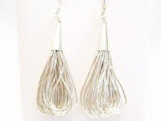 20 Strand Liquid Silver Earrings. 925 Sterling Silver. Soft and silky to the touch.
